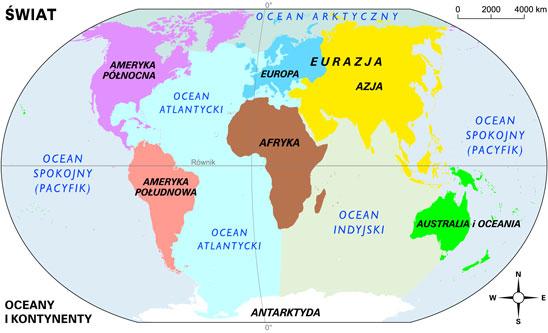Kontynenty I Oceany Powtarzamy Z Geografii